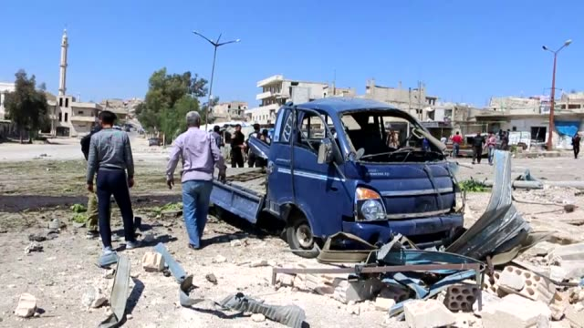 vidéos et rushes de nine civilians were killed in fresh bombardments by regime and russian forces in khan sheikhun town in northwestern idlib province in war-torn syria... - arme de destruction massive