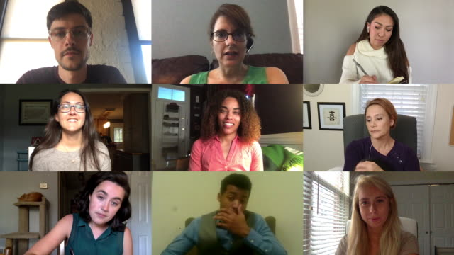 vídeos de stock, filmes e b-roll de nine colleagues working from home converse with each other while on a video conference call. - global communications