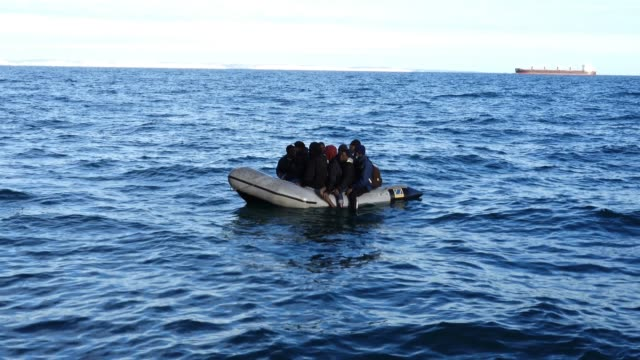 nine migrants drift on a dinghy in the english channel after their engine failed on september 06, 2020 in dover, england. the nine male migrants were... - sea channel stock videos & royalty-free footage