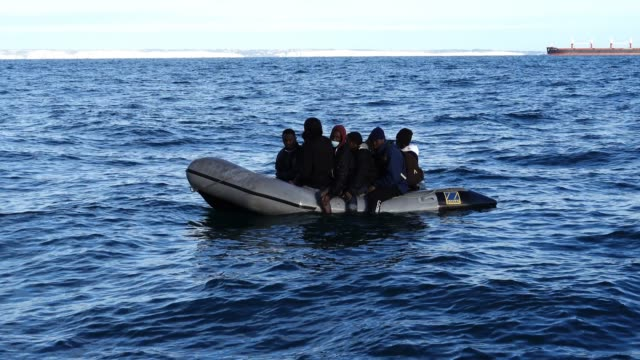 nine migrants drift on a dinghy in the english channel after their engine failed on september 06, 2020 in dover, england. the nine male migrants were... - journey stock videos & royalty-free footage