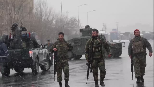 nine people, including five soldiers were killed when at least five attackers armed with heavy weapons attacked the marshal fahem military academy in... - kabul stock videos & royalty-free footage