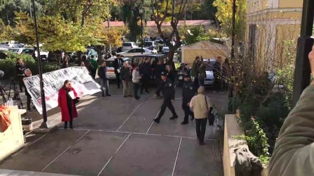nine turkish citizens arrested in athens raids on tuesday were brought to a greek court on november 29 charged with terrorism offences a public... - legal defense stock videos & royalty-free footage