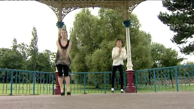 nine year old boy from barnsley wins place at royal ballet school ext keenan faulkner dancing in bandstand with sister - bandstand stock videos and b-roll footage
