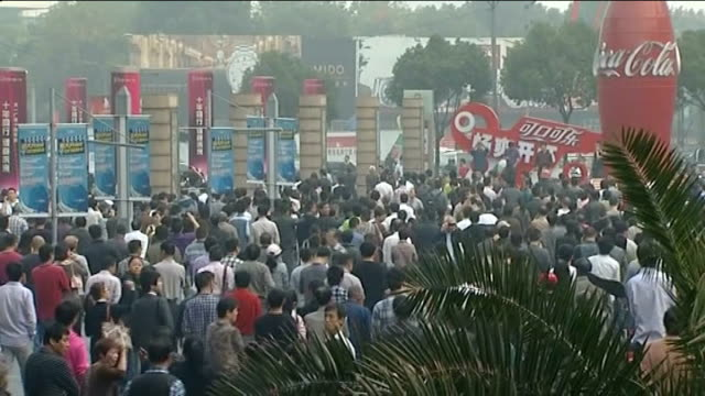 ningbo chemical plant expansion halted due to public protest eastern china ningbo ext mass protesters outside local communist party hq chanting in... - protestor stock videos & royalty-free footage