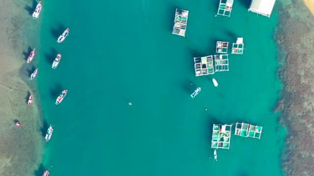 vidéos et rushes de ninh thuan province, vietnam - vinh hy bay (vịnh vĩnh hy) - aerial view - baie eau