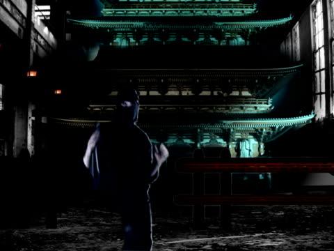 ninja infront of a massive pagoda - nunchaku stock videos and b-roll footage