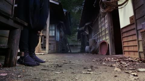 ninja movie actor on film set at night special effect 4k - hiding stock videos & royalty-free footage