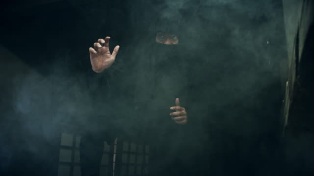 ninja posing in cloud of smoke - xvii° secolo video stock e b–roll