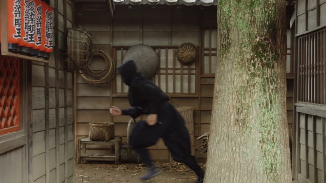 Ninja Sneaking Around in Historic Village