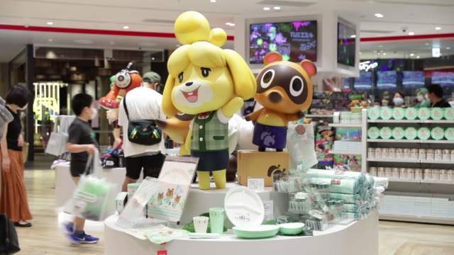 nintendo co. merchandise sit on display inside the nintendo tokyo store in tokyo, japan, on tuesday, august 4, 2020. nintendo is scheduled to report... - animal crossing sign stock videos & royalty-free footage