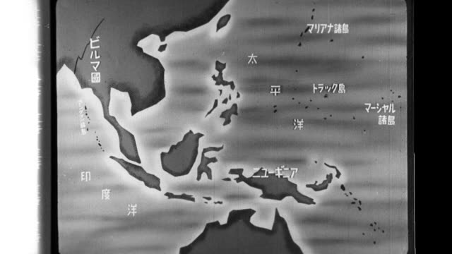 nippon news dynamic situation map describes the allied forces offensives in the marshall islands, new guinea and burma, and the preparations by the... - royal navy stock videos & royalty-free footage