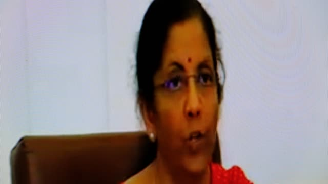 stockvideo's en b-roll-footage met nirmala sitharaman is an indian politician serving as the current minister of finance and corporate affairs of india. she announced various statutory... - aankondigingsbericht