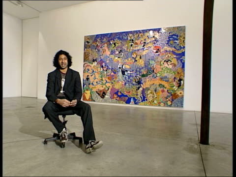 niru ratnam interview sot decorative art used to be thought of as bad superficial/ lot of young painters are using it gv wall exhibit people looking... - decorative art stock videos and b-roll footage