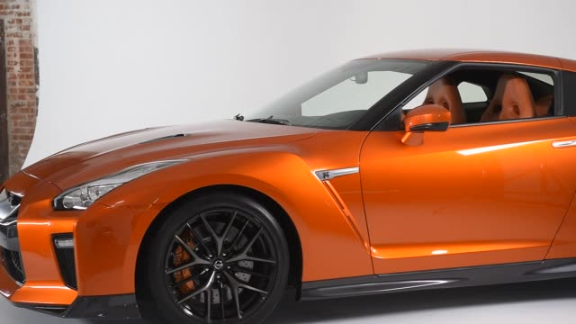 nissan gt-r sits in studio for a photo shoot before the auto show on march 20th, 2016 photographer: ron antonelli, bloomberg shots: close up shots of... - titan moon stock videos & royalty-free footage