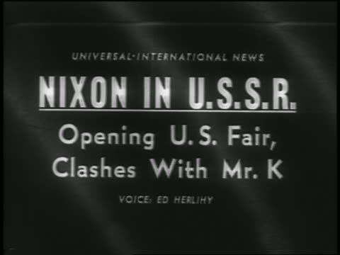b/w 1959 nixon in ussr opening us fair clashes with mr k slate / newsreel - 1959 stock-videos und b-roll-filmmaterial