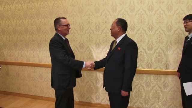 vídeos de stock e filmes b-roll de the un political affairs chief received a warm welcome on thursday as he held talks with north korean foreign minister ri yong ho with pyongyang's... - korean new year