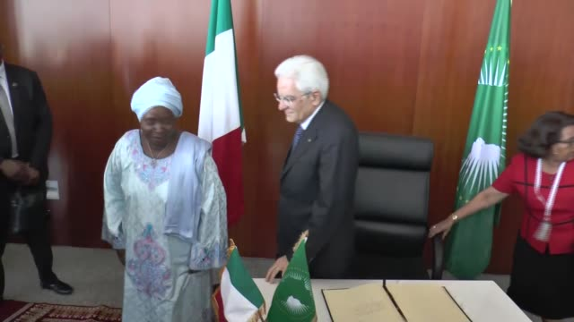 nkosazana dlamini zuma, chairperson of the african union commission and italian president sergio mattarella meet and hold a joint press conference at... - chairperson stock videos & royalty-free footage