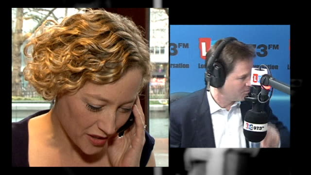 no action to be taken over lord rennard sexual impropriety allegations reaction of women involved lib lbc radio cathy newman ringing nick clegg on... - cathy newman stock-videos und b-roll-filmmaterial