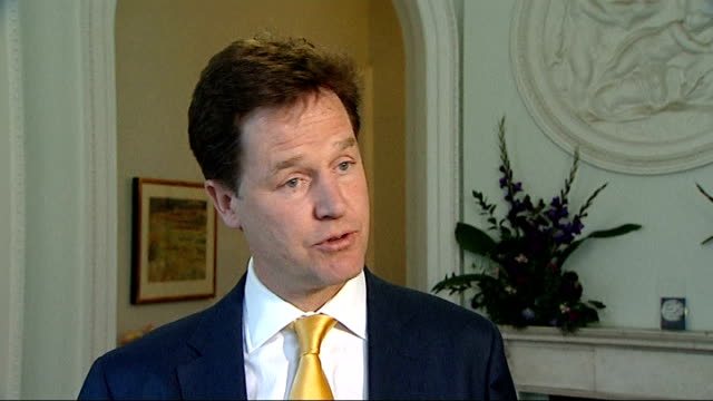 no action to be taken over lord rennard sexual impropriety allegations reaction of women involved lib int nick clegg mp interview sot makes sobering... - クリス・レナード点の映像素材/bロール