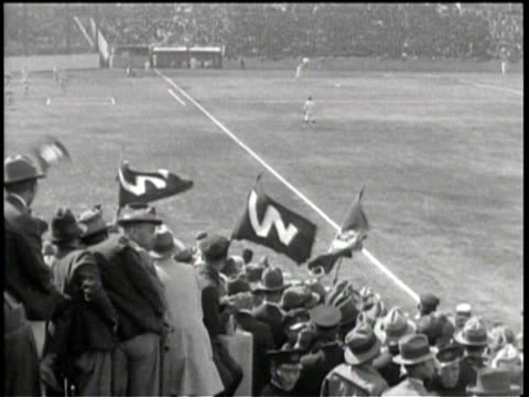 no audio / japanese baseball fans stand in attendance for a baseball game / baseball players compete in a world series match / men lining up in a... - anno 1938 video stock e b–roll