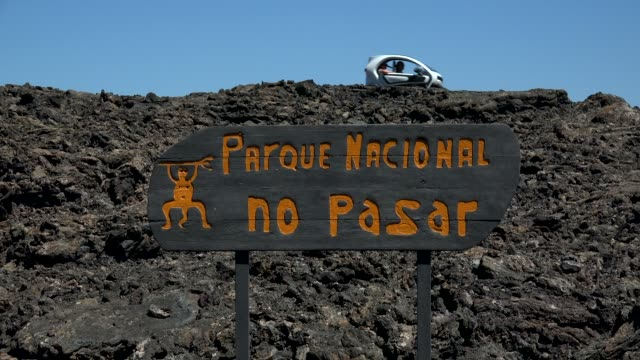 no entry sign in timanfaya national park, lanzarote, canary islands, spain, atlantic, europe - atlantic islands stock videos & royalty-free footage