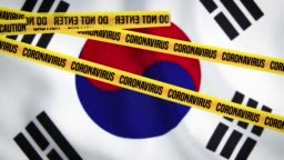 No entry tapes are on the flag of South Korea. It is forbidden to enter due to coronavirus outbreak.