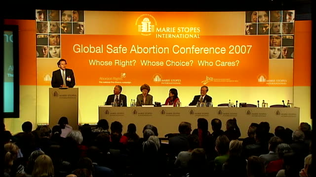 No evidence to reduce upper time limit for abortions says Health Minister London Lord Steel on stage with other conference delegates as listening to...