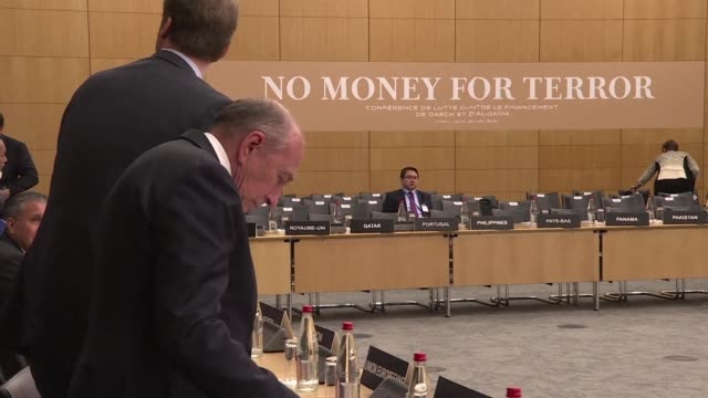 no money for terror a conference at the oecd on combating the financing of terror groups gets underway in paris - oeec video stock e b–roll