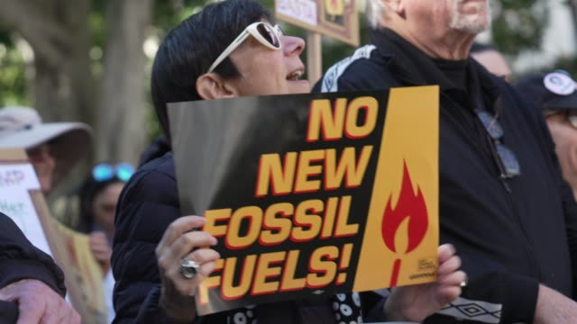 no more fossil fuel banner at jane fonda's fire drill friday at los angeles city hall on february 07 2020 in los angeles california - fire drill stock videos & royalty-free footage