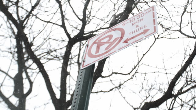 no parking in the snow - no parking sign stock videos & royalty-free footage