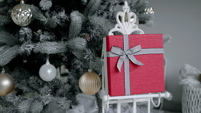 no people room decoration christmas tree in the living room inside the house. - christmas tree lighting ceremony stock videos & royalty-free footage