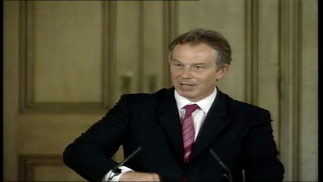 no policy changes for labour government; itn england: london: int cms tony blair at podium as robinson is heard asking if blair has heard what voters... - politics and government stock videos & royalty-free footage