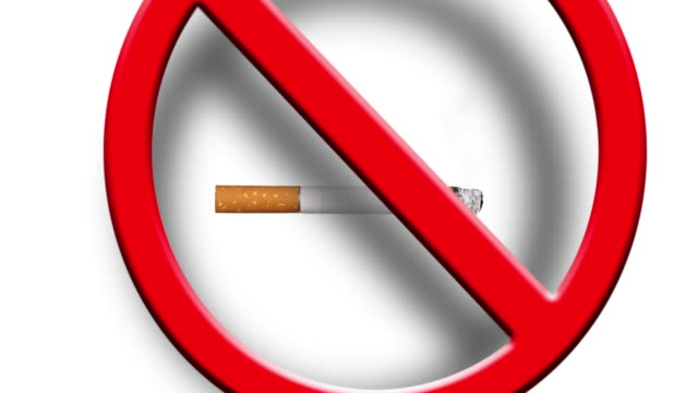 no smoking sign with a real cigarette smoke and a 3d red sign falling on top - no smoking sign stock videos & royalty-free footage
