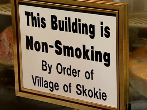 """""""no smoking"""" signs in a restaurant in skokie, illinois. - no smoking sign stock videos & royalty-free footage"""