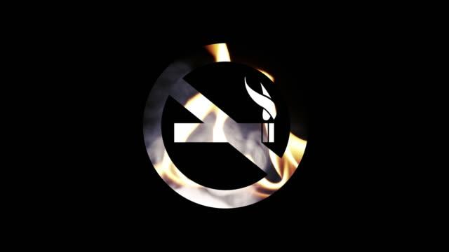 vídeos y material grabado en eventos de stock de símbolo de no fumar en fuego y humo - smoke physical structure