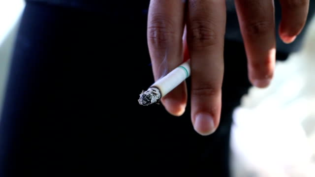 no tobacco closeup of female hand holding broken cigarette on palm, smoking is bad for your health, quit smoking concept, the footage uses, selective focus - sigaro video stock e b–roll