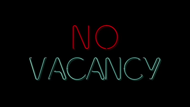 stockvideo's en b-roll-footage met no vacancy flashing neon sign - vol fysieke beschrijving