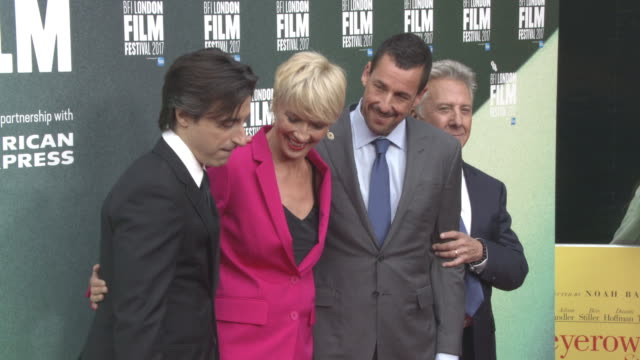 noah baumbach emma thompson adam sandler dustin hoffman at 'the meyerowitz stories' uk premiere 61st bfi london film festival at embankment gardens... - emma thompson stock videos & royalty-free footage