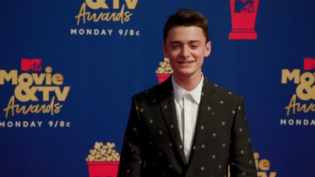 noah schnapp at the 2019 mtv movie & tv awards at barkar hangar on june 15, 2019 in santa monica, california. - mtvムービー&tvアワード点の映像素材/bロール