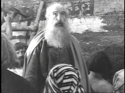 1923 reenactment noah speaking to the men building his ark - bible stock videos & royalty-free footage