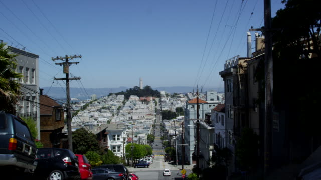 nob hill provides a vantage point for coit tower. - steep stock videos & royalty-free footage