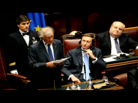 nobel laureate and holocaust survivor elie wiesel addressed the italian parliament at a ceremony on international holocaust remembrance day, rome,... - international holocaust remembrance day stock videos & royalty-free footage
