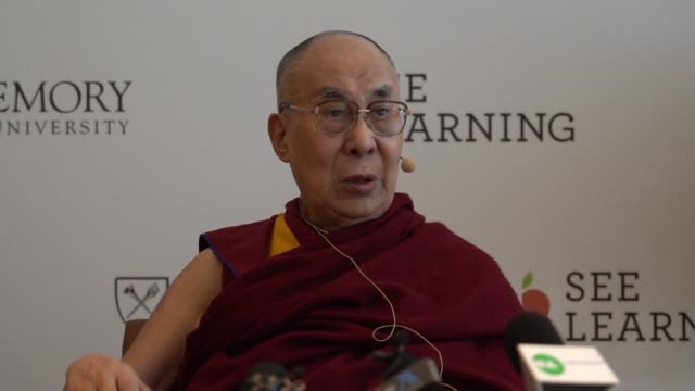 vídeos y material grabado en eventos de stock de nobel laureate and tibet's spiritual leader the dalai lama calls for a more compassionate world praises the european union and commends new zealand... - lama