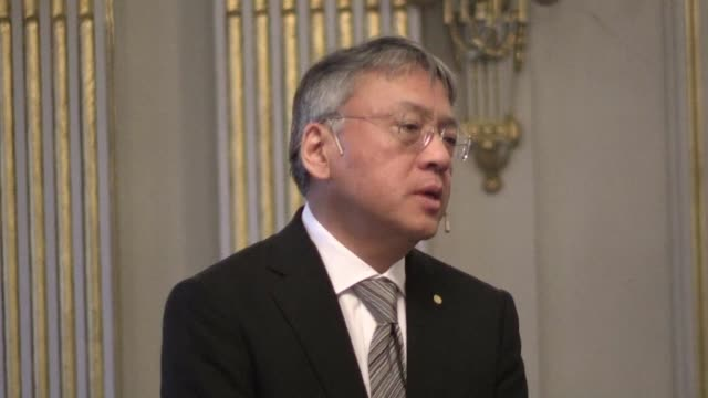nobel laureate kazuo ishiguro hails the awarding of the peace prize to nuclear disarmament group ican - kazuo ishiguro stock videos & royalty-free footage