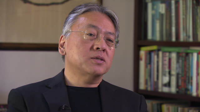 """nobel laureate kazuo ishiguro saying he likes to create scenarios where characters """"understate things, frustratingly from the reader's point of view"""" - kazuo ishiguro stock videos & royalty-free footage"""