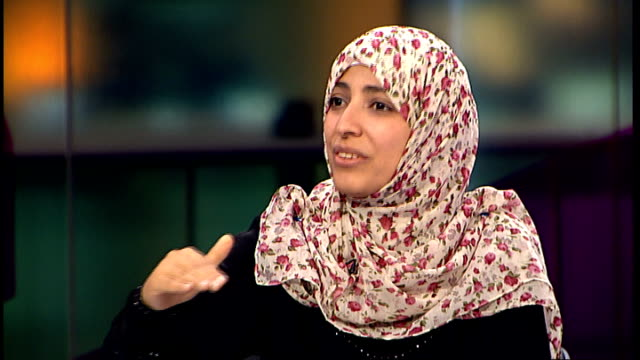 Nobel Peace Prize winner Tawakkol Karman profile and interview ENGLAND London GIR Tawakkol Karman STUDIO interview SOT On how she became a Nobel...