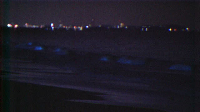 noctiluca scintillans sparkling in waves (long shot) - raggiante video stock e b–roll