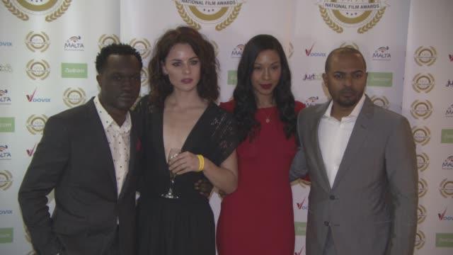 noel clarke, iris da-silva at national film awards at porchester hall on march 29, 2017 in london, england. - ポーチェスター点の映像素材/bロール
