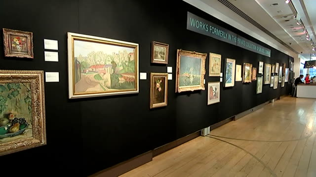 noel coward artworks auction at christie's: preview; england: london: south kensington: christie's: int various shots of paintings and drawings by... - scriptwriter stock videos & royalty-free footage