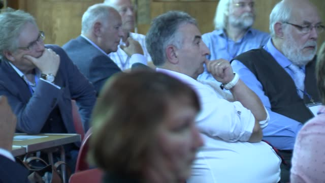 noel edmonds at sme alliance banking event; england: london: int various of sme alliance event and audience / noel edmonds seated on stage with others - noel edmonds stock videos & royalty-free footage